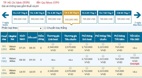 Bảng giá vé máy bay đi Quy Nhơn cập nhật ngày 04-5-2016