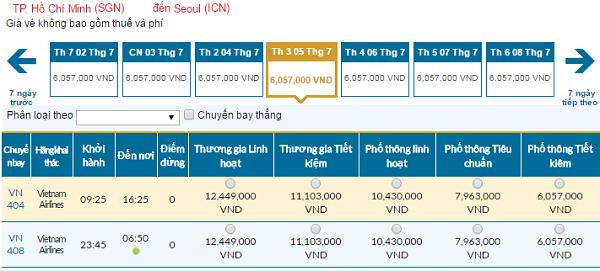 Bảng giá vé máy bay đi Seoul cập nhật ngày 06-06-2016