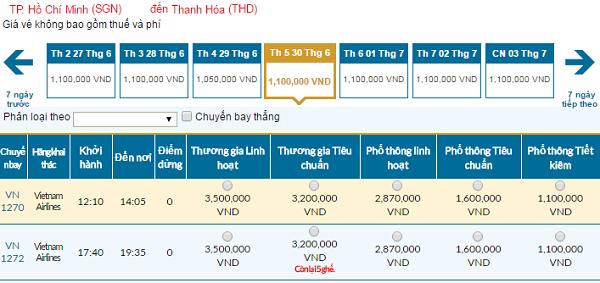 Bảng giá vé máy bay đi Thanh Hóacập nhật ngày 05-06-2016