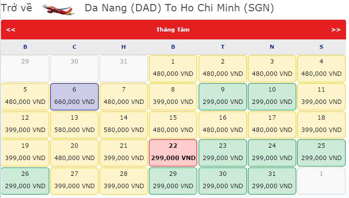Giá vé máy bay Đà Nẵng đi TPHCM hãng VietJet Air