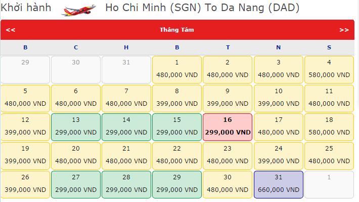 Giá vé máy bay TPHCM đi Đà Nẵng hãng VietJet Air
