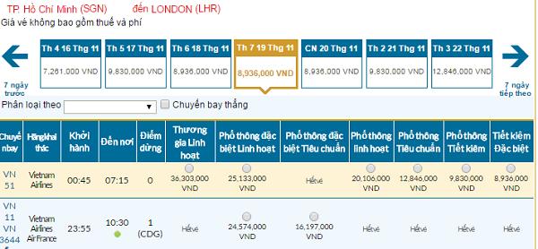Bảng giá vé máy bay Vietnam Airlines đi Londongiá rẻ tháng 11/2016.