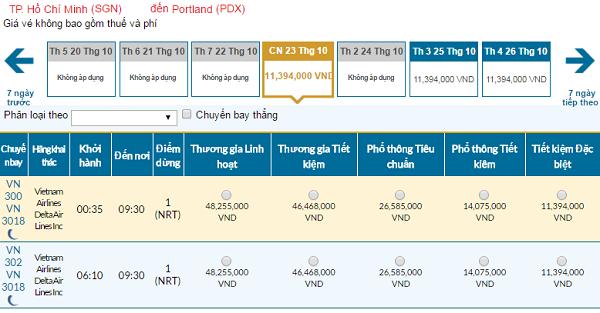Giá vé máy bay đi Portland hãng Vietnam Airlines mới nhất