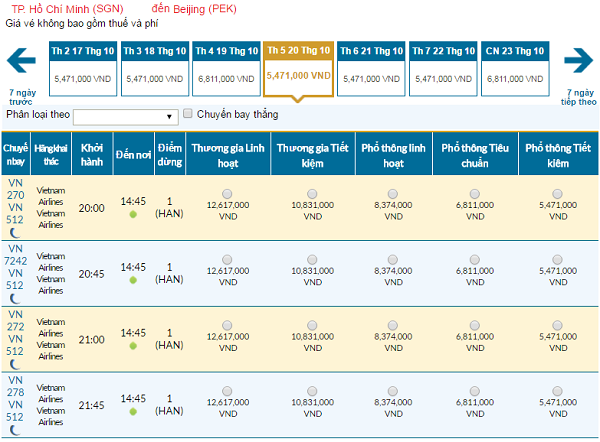 Giá vé máy bay hãng Vietnam Airlines đi Bắc Kinh mới nhất