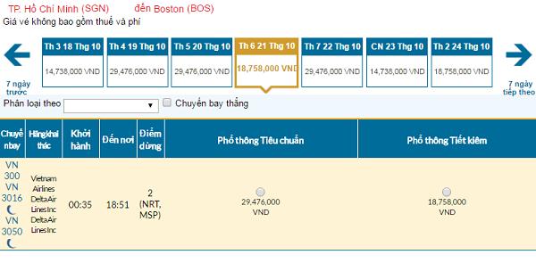 Giávé máy bay hãng Vietnam Airlines đi Boston mới nhất