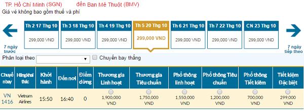 Giávé máy bay hãng Vietnam Airlines đi Buôn Ma Thuột mới nhất