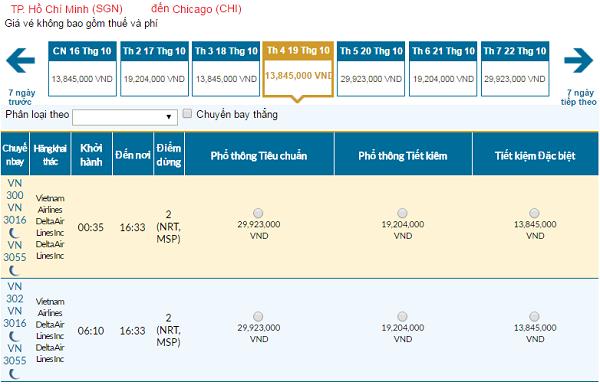 Giá vé máy bay đi Chicago hãng Vietnam Airlines mới nhất