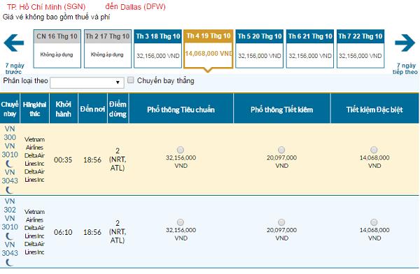 Giá vé máy bay đi Dallas hãng Vietnam Airlines mới nhất