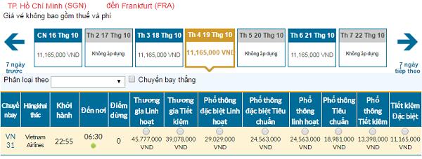 Giá vé máy bay đi Frankfurt hãng Vietnam Airlines mới nhất