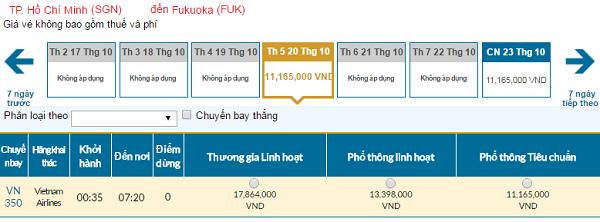 Giá vé máy bay đi Fukuoka hãng Vietnam Airlines mới nhất