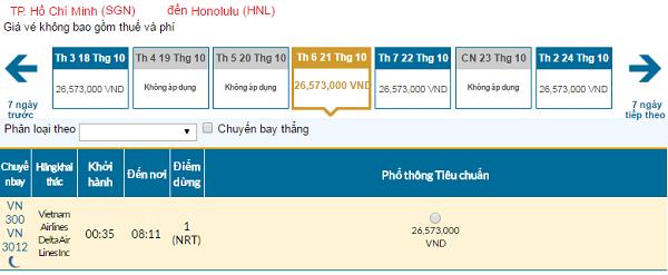 Giá vé máy bay đi Honolulu hãng Vietnam Airlines mới nhất