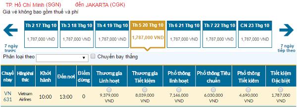 Giá vé máy bay đi Indonesia hãng Vietnam Airlines mới nhất