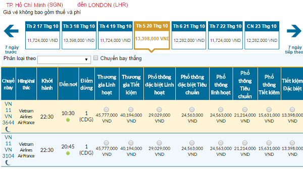 Giávé máy bay Vietnam Airlines đi London mới nhất