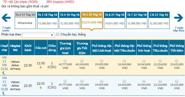Giá vé máy bay đi Madrid hãng Vietnam Airlines mới nhất