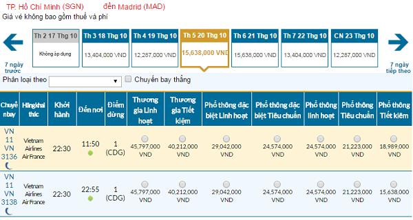 Giá vé máy bay đi Tây Ban Nha hãng Vietnam Airlines mới nhất