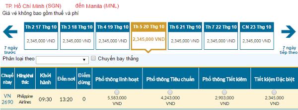 Giá vé máy bay đi Manila hãng Vietnam Airlines mới nhất