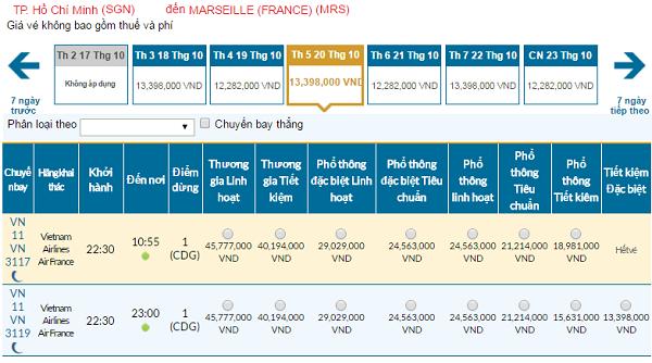 Giá vé máy bay đi Marseilles hãng Vietnam Airlines mới nhất