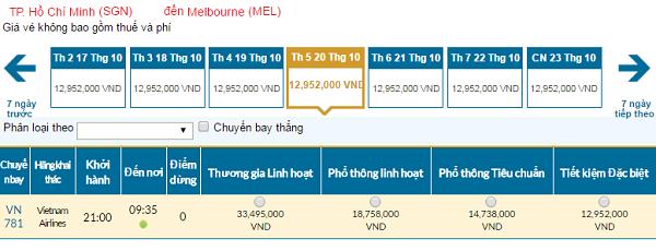 Giávé máy bay hãng Vietnam Airlines đi Melbourne mới nhất