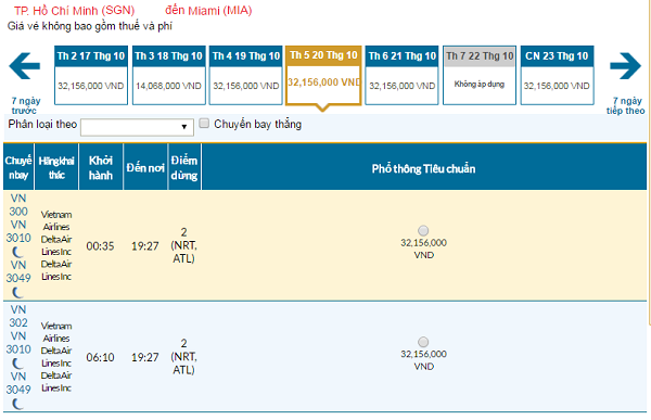 Giá vé máy bay đi Miami hãng Vietnam Airlines mới nhất