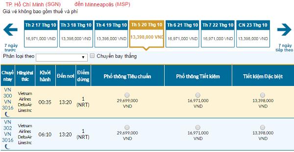 Giá vé máy bay đi Minneapolis hãng Vietnam Airlines mới nhất
