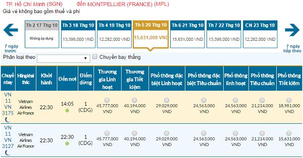 Giá vé máy bay đi Montpellier hãng Vietnam Airlines mới nhất