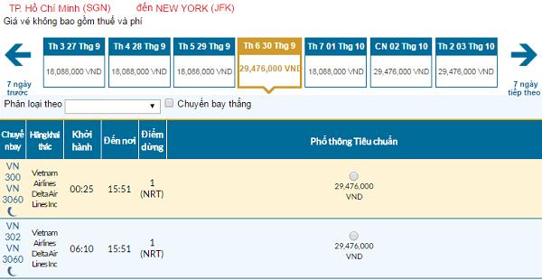 Giá vé máy bay đi New York hãng Vietnam Airlines mới nhất