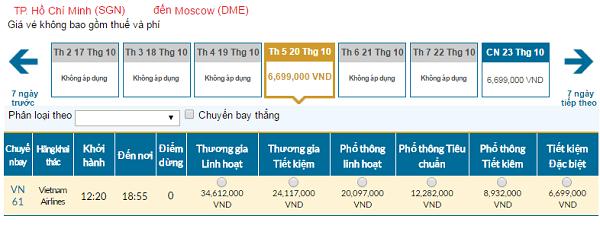 Giá vé máy bay đi Nga hãng Vietnam Airlines mới nhất