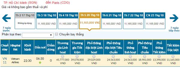 Giá vé máy bay đi Pháp hãng Vietnam Airlines mới nhất