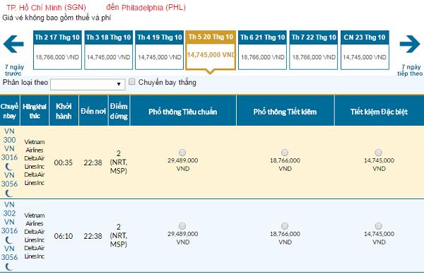 Giá vé máy bay đi Philadelphia hãng Vietnam Airlines mới nhất