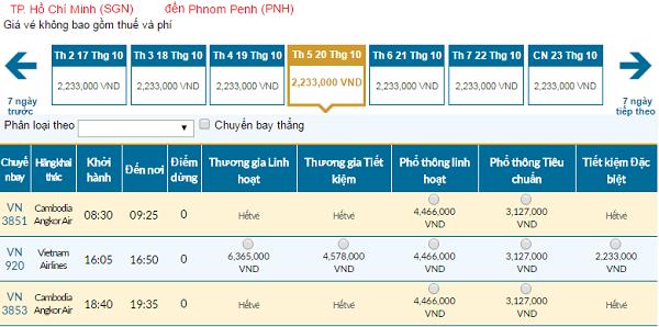 Giá vé máy bay đi Phnom Penh hãng Vietnam Airlines mới nhất