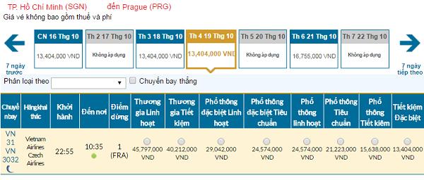 Giá vé máy bay đi Praha hãng Vietnam Airlines mới nhất