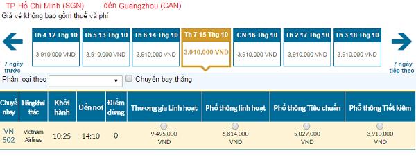 Giá vé máy bay đi Quảng Châu hãng Vietnam Airlines mới nhất