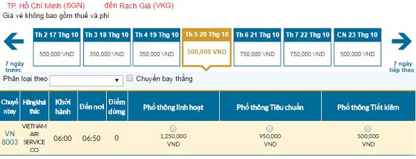 Giá vé máy bay hãng Vietnam Airlines đi Rạch Giá mới nhất