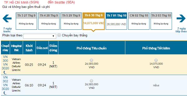 Giá vé máy bay đi Seattle hãng Vietnam Airlines mới nhất