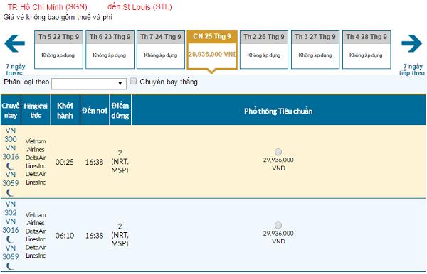 Giá vé máy bay đi St. Louis hãng Vietnam Airlines mới nhất
