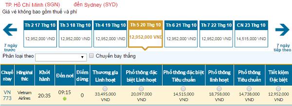 Giá vé máy bay hãng Vietnam Airlines đi Australia mới nhất