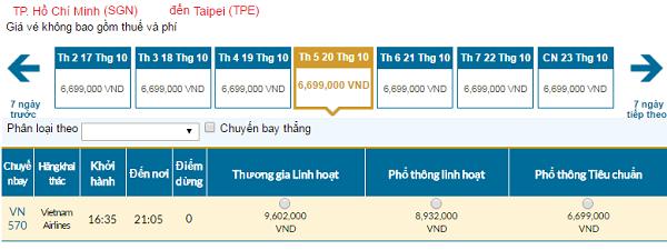 Giávé máy bay hãng Vietnam Airlines đi Đài Loan mới nhất