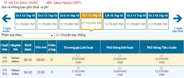 Giá vé máy bay đi Tokyo hãng Vietnam Airlines mới nhất