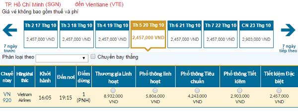 Giá vé máy bay đi Lào hãng Vietnam Airlines mới nhất