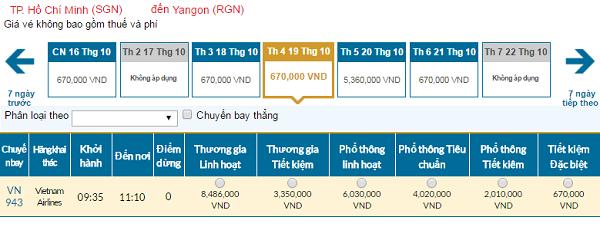 Giá vé máy bay đi Myanmar hãng Vietnam Airlines mới nhất