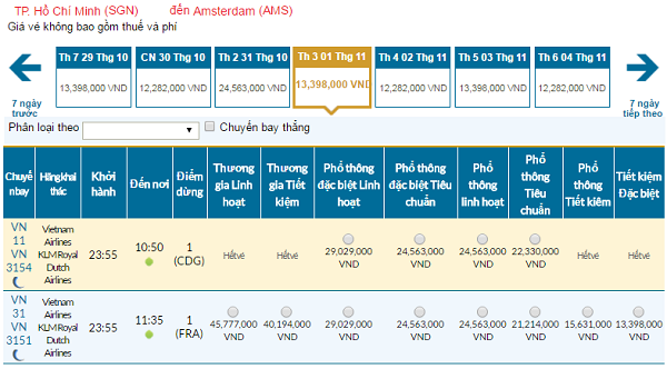 Giávé máy bay hãng Vietnam Airlines đi Amsterdam mới nhất