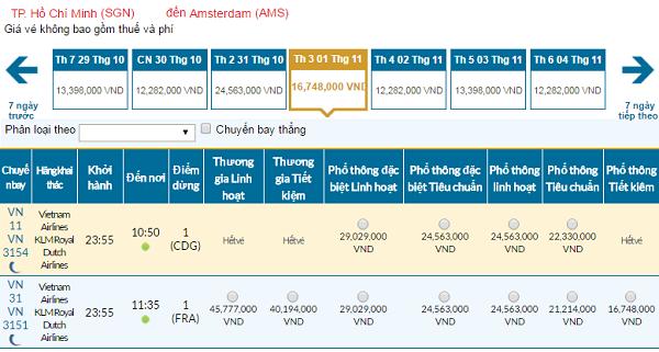 Giávé máy bay hãng Vietnam Airlines đi Hà Lan mới nhất
