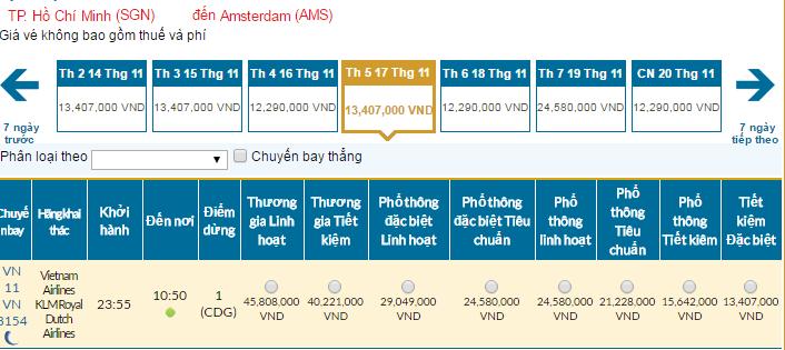 Bảng giá vé máy bay đi Amsterdam giá rẻ tháng 11/2016 của Vietnam Airlnes