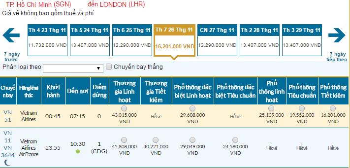 Bảng giá vé máy bay đi Anh giá rẻ tháng 11/2016 của Vietnam Airlnes