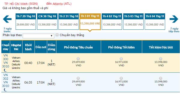 Giávé máy bay hãng Vietnam Airlines đi Atlanta mới nhất