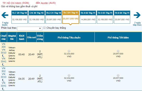Giávé máy bay hãng Vietnam Airlines đi Austin mới nhất
