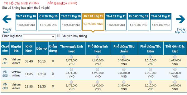 Giávé máy bay hãng Vietnam Airlines đi Bangkok mới nhất