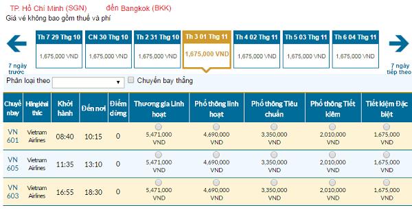 Giávé máy bay hãng Vietnam Airlines đi Thái Lan mới nhất