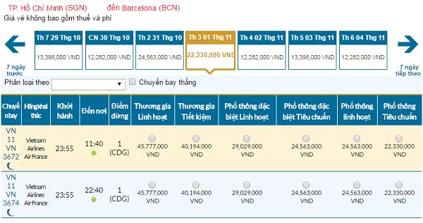Giávé máy bay hãng Vietnam Airlines đi Barcelona mới nhất