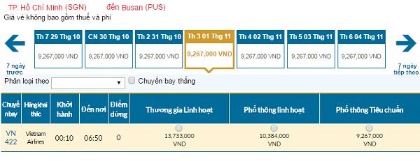 Giávé máy bay hãng Vietnam Airlines đi Hàn Quốc mới nhất
